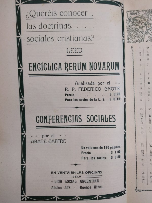 Almanaque de la Liga Social Argentina 1914, Oficina de Publicaciones de la Liga Social Argentina, pág. 58 (sin más datos)